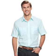 Big & Tall IZOD Regular-Fit Textured Chambray Button-Down Shirt