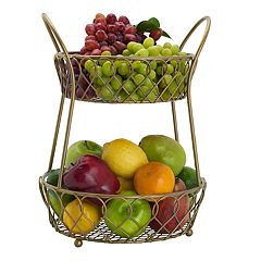 Gourmet Basics Loop & Lattice 2-Tier Basket