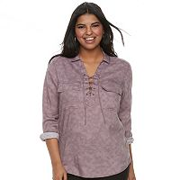 Juniors' Plus Size SO® Lace-Up Utility Top