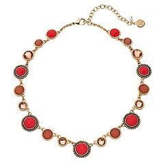 Dana Buchman Peach Circle Link Collar Necklace