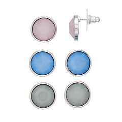 Circle Button Stud Earring Set