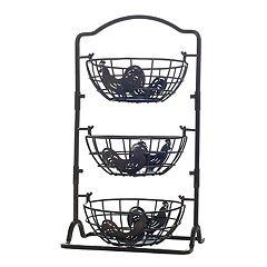 Gourmet Basics Rooster 3-Tier Hanging Basket