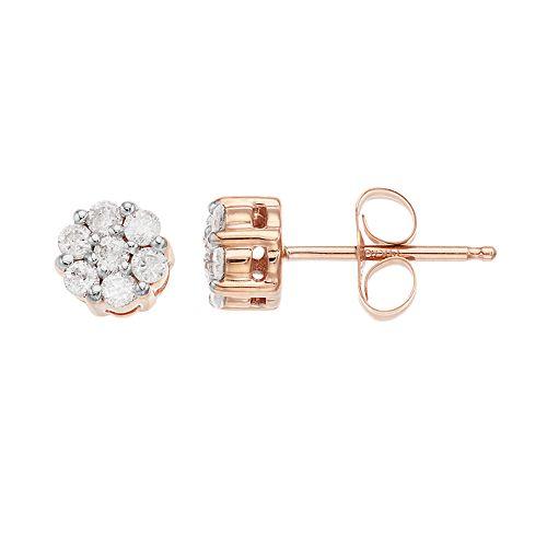 10k Rose Gold 1/4 Carat T.W. Diamond Cluster Stud Earrings