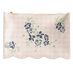 LC Lauren Conrad Gingham Flowers Scalloped Edge Cosmetic Bag