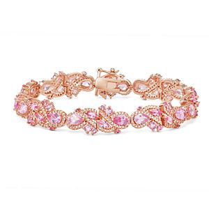 14k Rose Gold Over Silver Lab-Created Pink & White Sapphire Halo Bracelet