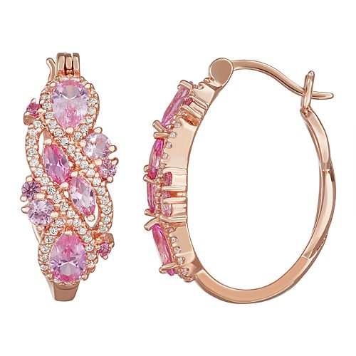 14k Rose Gold Over Silver Lab-Created Pink & White Sapphire Hoop Earrings