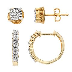 18k Gold Over Silver 1/10 Carat T.W. Diamond Hoop & Stud Earring Set
