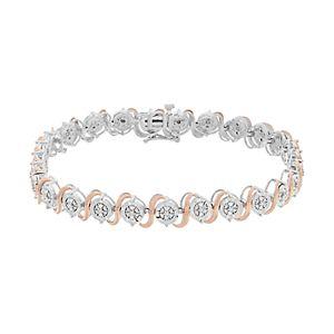 1/4 Carat T.W. Diamond Two-Tone Sterling Silver Link Bracelet