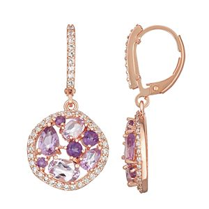 14k Rose Gold Over Silver Amethyst & Lab-Created White Sapphire Drop Earrings
