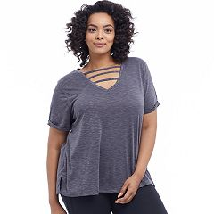 Plus Size Balance Collection Riley Strappy V-Neck Tee