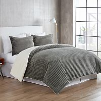 VCNY Home Zane Ribbed Plush to Sherpa Fleece 3 pc Reversible Comforter Set