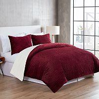 VCNY Home Zane Ribbed Plush to Sherpa Fleece 3 pc Reversible Comforter Set