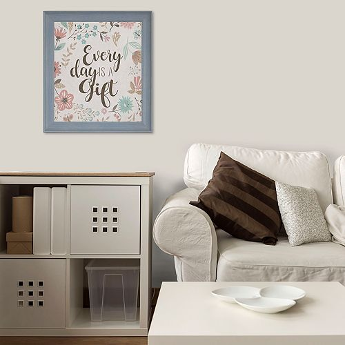 "Floral ""Every Day Is A Gift"" Framed Wall Decor"