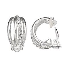 Dana Buchman Simulated Crystal Semi-Hoop Clip-On Earrings
