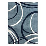 Gertmenian Micro Shaggy Sketchy Circles Geometric Rug