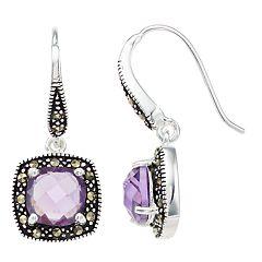 Le Vieux Purple Cubic Zirconia & Marcasite Square Drop Earrings