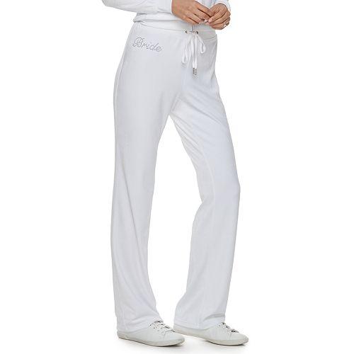 """Women's Juicy Couture """"Bride"""" Velour Bootcut Pants"""