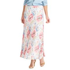 Petite Chaps Floral Pleated Skirt