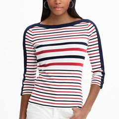 Petite Chaps Lace-Up Sleeve Boatneck Top