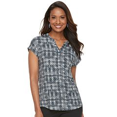Women's Dana Buchman Print Splitneck Top