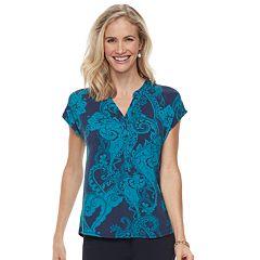 Women's Dana Buchman Print Splitneck Top