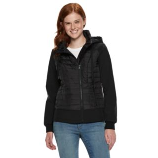 Juniors' Sebby Quilted Soft Shell Hooded Jacket
