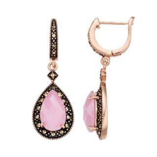 <p>Le Vieux Marcasite Cubic Zirconia Tear Drop Rose Gold Earring</p>