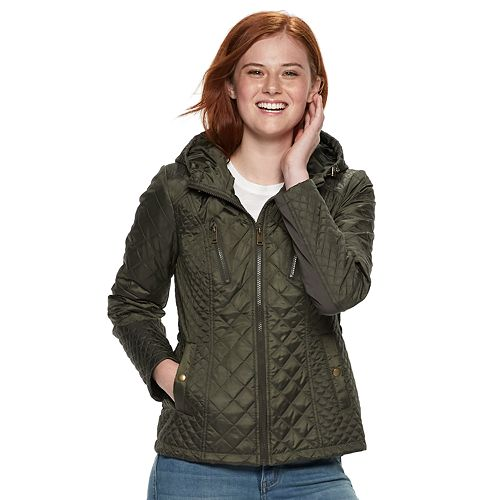 Juniors' Sebby Quilted Hooded Jacket