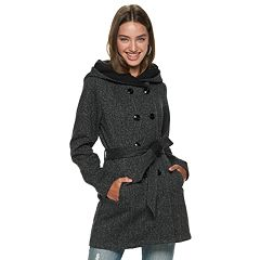 Juniors' IZ Byer Double Breasted Tweed & Fleece Hooded Jacket