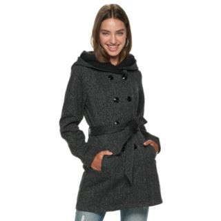 Juniors' IZ Byer Double Breasted Tweed & Fleece Hooded Jacket
