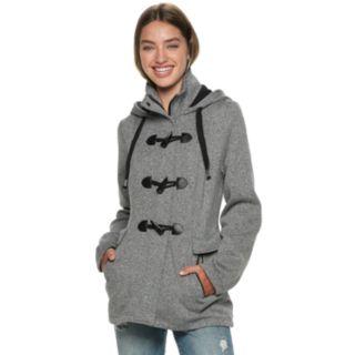 Juniors' IZ Byer Toggle Front Tweed & Fleece Hooded Jacket