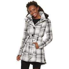 Juniors' IZ Byer Faux-Wool Plaid Hooded Jacket