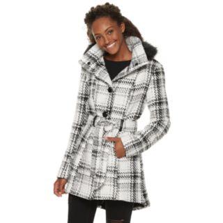 Juniors' IZ Byer Faux-Wool Plaid Hooded Jacket