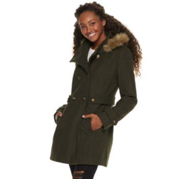 Juniors' IZ Byer Double Breasted Faux-Wool Hooded Jacket