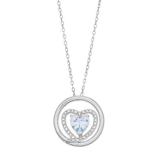 RADIANT GEM Sterling Silver Aquamarine, Lab-Created White Sapphire & Diamond Accent Heart Pendant Necklace