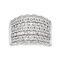 Sterling Silver 1/2 Carat T.W. Diamond Multi Row Ring