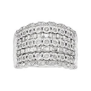 Sterling Silver 1/2 Carat T.W. Diamond Multi Row Ring