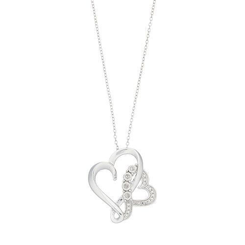 Sterling Silver Diamond Accent Double Heart Pendant Necklace