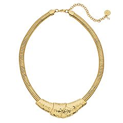 Dana Buchman Gold Tone Hammered Statement Necklace