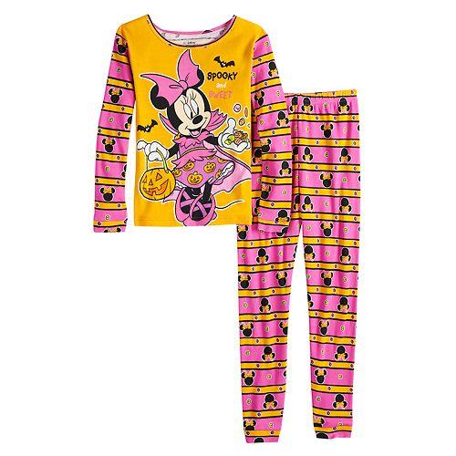 Disney's Minnie Mouse Girls 4-8 Glow-in-the-Dark Halloween Top & Bottoms Pajama Set
