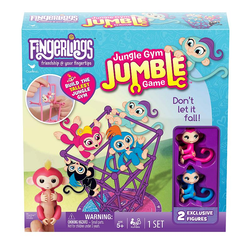 Add to your Fingerlings collection with this Cardinal Fingerling Jungle Gym Game! Roll the die and swing your way around the board, picking up construction pieces to help you build the tallest jungle gym To win, be the first player to hang your monkey atop the highest horizontal bar on the highest jungle gym two times without your gym falling WHAT\\\'S INCLUDED Jungle gym pieces Game board 4 figures Die 10.5\\\'\\\'H x 2\\\'\\\'W x 10.5\\\'\\\'D Age: 6 years & up Paper, plastic Wipe clean Imported Size: One Size. Color: Multicolor. Gender: unisex. Age Group: kids.