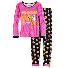 Girls 6-10 Halloween Emoji Glow-in-the-Dark Top & Bottoms Pajama Set