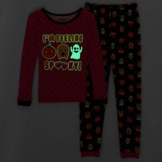 Girls 6-10 Halloween Emoji Glow-in-the-Dark Top & Bottoms Pajama Set