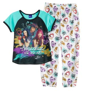 Disney's Descendants Girls 6-14 Mal, Evie & Uma Top & Bottoms Pajama Set