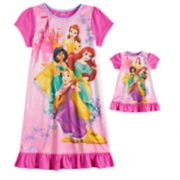 Disney's Ariel, Rapunzel, Jasmine & Belle Girls 4-8 Nightgown & Doll Gown Set