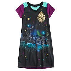 Girls 6-12 Harry Potter Hogwarts Knee Length Dorm Nightgown