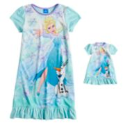 Disney's Frozen Elsa Girls 4-10 Dorm Nightgown & Doll Nightgown