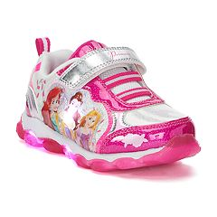 Disney Princess Ariel, Belle, Aurora Toddler Girls' Light Up Sneakers