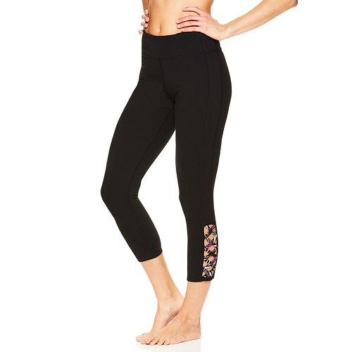 Women's Gaiam Shilo Strappy Yoga Midrise Capri Leggings