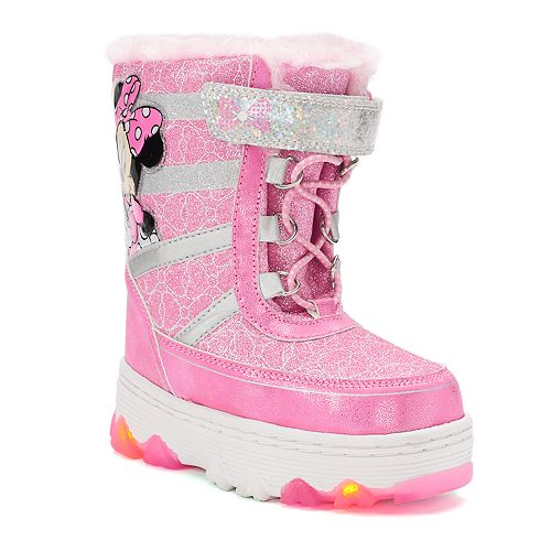 Disney's Minnie Mouse Toddler Girls' Water Resistant Light Up Winter Boots